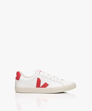 VEJA Esplar Low Logo Leren Sneakers - Extra Wit/Pekin