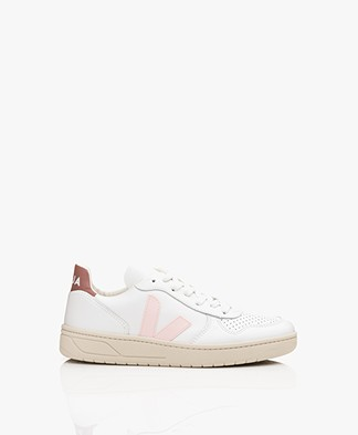 VEJA V-10 Leather Sneakers - Extra White/Petale/Dried Petal