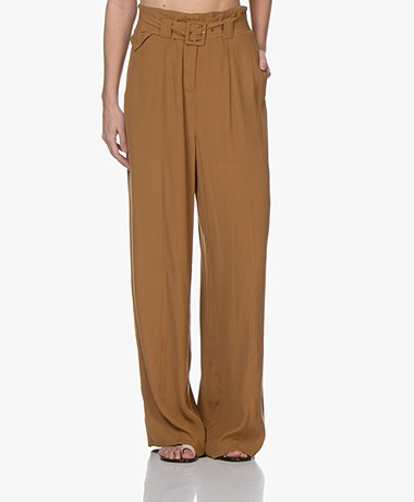 Marie Sixtine Wide Eloi Viscose Crepe Pants - Bronze