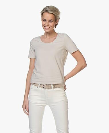 Repeat Katoenen Basis Ronde Hals T-shirt - Desert