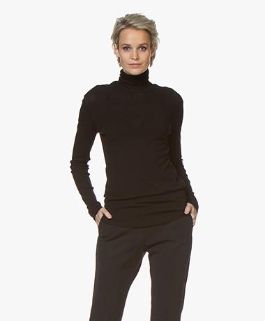 Filippa K Alaina Fijn Rib Jersey Colshirt - Zwart
