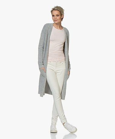 by-bar Nisa Mid Length Open Cardigan - Light Grey