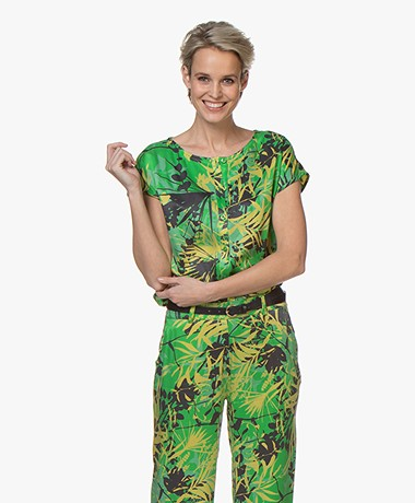 Kyra & Ko Jade Cupro and Viscose Jungle Print Blouse - Green