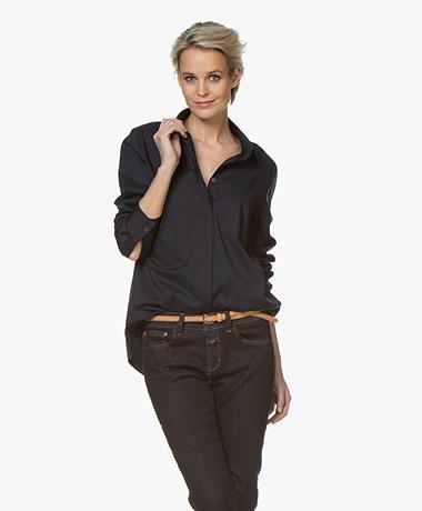 Repeat Katoenmix Stretch-poplin Overhemd - Navy