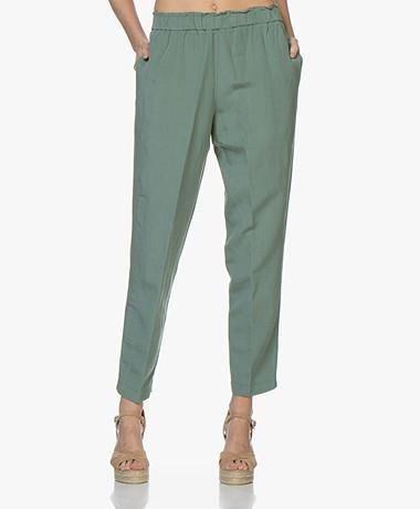 Pomandère Loose-fit Viscose and Linen Pants - Green