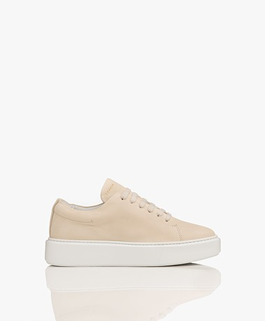 Copenhagen Nubuck Leather Platform Sneakers - Cream