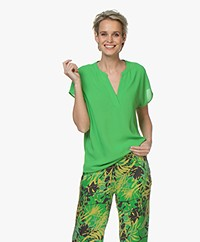 Kyra & Ko Maren Crepe Short Sleeve Blouse - Green