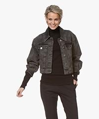 ba&sh Dilan Cropped Denim Jacket - Grey