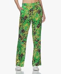 Kyra & Ko Alizee Cupro and Viscose Jungle Print Pants - Green