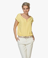 Kyra & Ko Terri Bamboo Blouse with Short Sleeves - Desert