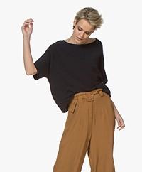 Sibin/Linnebjerg Portal Merino Mix Short Sleeve Sweater - Navy