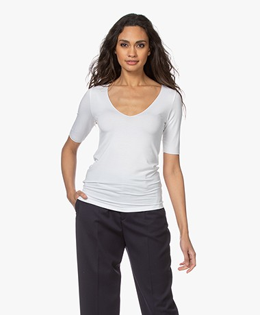 Majestic Filatures Soft Touch Scoop V-hals T-shirt - Wit