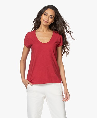 Drykorn Avivi Slub Jersey T-shirt - Red