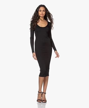 ANINE BING Montana Ribbed Jersey Bodycon Dress - Black