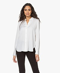 Vince Slim-fit Stretch Zijden Blouse - Optic White