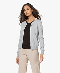 Repeat Bio Cotton Blend Button-through Cardigan - Soft Grey