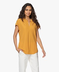 JapanTKY Kae V-slit Blouse with Short Sleeves - Ochre Yellow