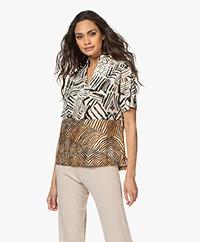 LaSalle Printed Short Sleeve Blouse - Savanna