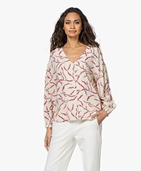 ba&sh Clea Viscose Blouse met Print - Off-white