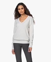 Vince Weekend Cashmere V-hals Trui - Heather White