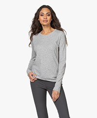 Vince Essential Crew Pima Cotton Long Sleeve - Heather Grey
