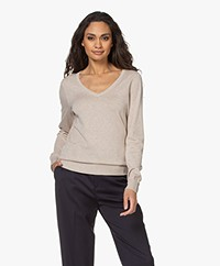 Repeat Organic Cotton Blend V-neck Sweater - Beige