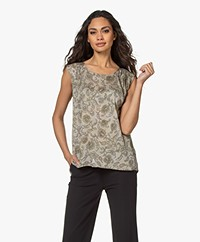 Repeat Zijden Print Top - Pepper