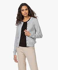 Repeat Bio Cotton Blend Button-through Cardigan - Soft Grey