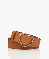Zadig & Voltaire Harley Leather Belt with Heart-shaped Buckle - Camel