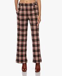 Josephine & Co Noah Checkered Jersey Pants - Black/Orange-Red
