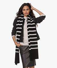 Woman by Earn Bud Stripes Long Rib Knitted Scarf- Black