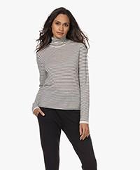 Majestic Filatures Striped Cashmere Turtleneck Sweater - Ecru/Marine