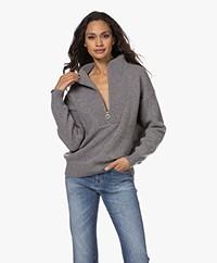 Closed Wool Sweater with Zipper - Dark Grey Melange