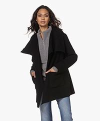Closed Elvy Virgin Wool Blend Wrap Coat - Black