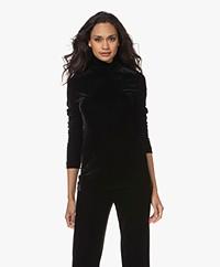 Woman by Earn Olive Stretch Velvet Turtleneck Long Sleeve - Black