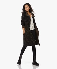 Woman by Earn Thony Knee-length Cardigan with Dessin - Black