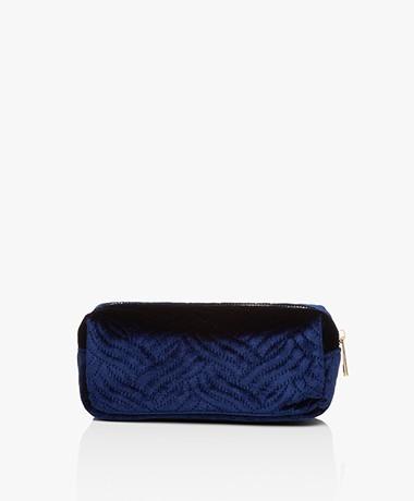 &Klevering Fluwelen Make-up Tas - Geborduurd Blauw