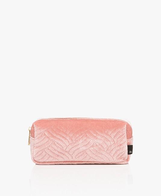 &Klevering Fluwelen Make-up Tas - Geborduurd Roze