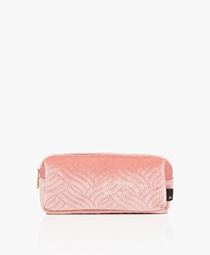 &Klevering Velvet Makeup Bag - Embroidery Pink