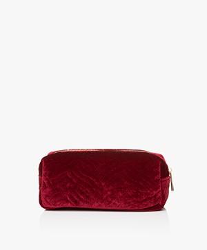 &Klevering Fluwelen Make-up Tas - Geborduurd Rood