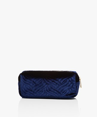 &Klevering Velvet Makeup Bag - Embroidery Blue
