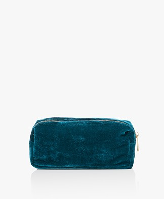&Klevering Velvet Makeup Bag - Petrol