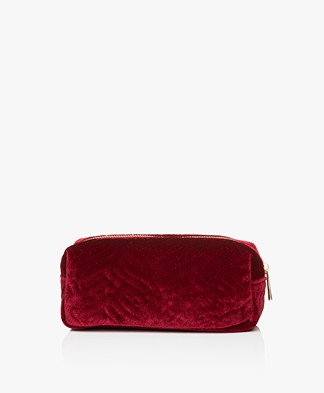 &Klevering Velvet Makeup Bag - Embroidery Red