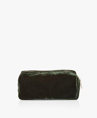 &Klevering Velvet Makeup Bag - Dark Green