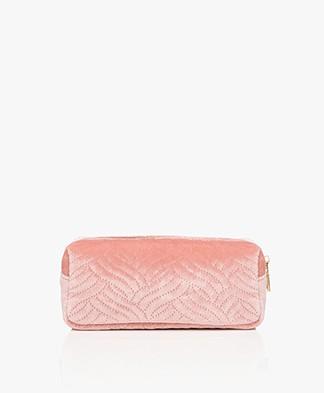 &Klevering Velvet Makeup Bag - Embroidery Pink