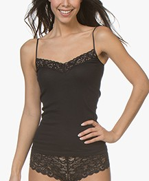 HANRO Moments Spaghetti Strap Top - Black