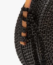 Pomandère Round Rattan Shoulder Bag - Black