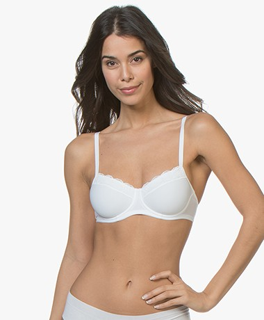 HANRO Cotton Lace T-Shirt Bra - White