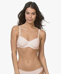 HANRO Cotton Lace T-Shirt Bra - Powder