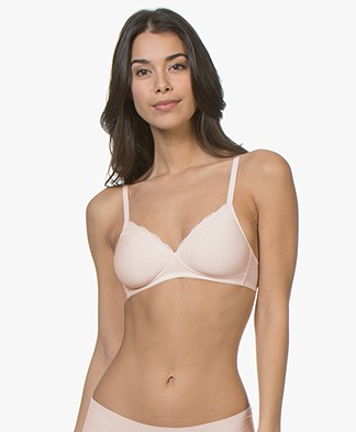 HANRO Cotton Lace Spacer Soft Cup Bra - Powder
